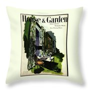 A House And Garden Cover Of A Living Room Throw Pillow