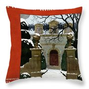 A House And Garden Cover Of A Mansion Throw Pillow