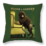 A House And Garden Cover Of A Poodle Throw Pillow
