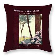 A House And Garden Cover Of A Rural Scene Throw Pillow
