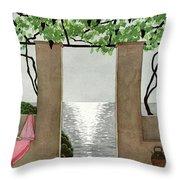 A House And Garden Cover Of A Seaside Patio Throw Pillow