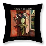 A House And Garden Cover Of A Vase Of Flowers Throw Pillow