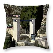 A House And Garden Cover Of A Well Throw Pillow