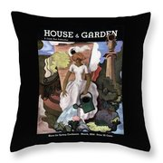 A House And Garden Cover Of A Woman Watering Throw Pillow