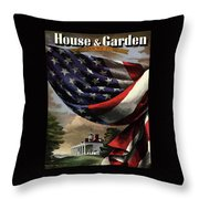 A House And Garden Cover Of An American Flag Throw Pillow