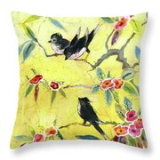 A House And Garden Cover Of Chickadees Throw Pillow