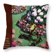 A House And Garden Cover Of Dachshunds With A Hat Throw Pillow