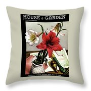 A House And Garden Cover Of Lilies Throw Pillow