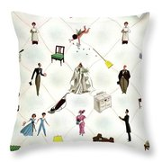 A House And Garden Cover Of People And Household Throw Pillow