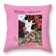 A House And Garden Cover Of People Gardening Throw Pillow