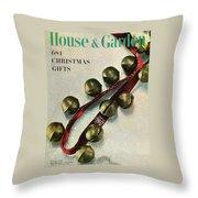 A House And Garden Cover Of Sleigh Bells Throw Pillow