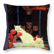 A House And Garden Cover Of White Cats Throw Pillow