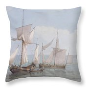 A Hoy And A Lugger With Other Shipping On A Calm Sea  Throw Pillow