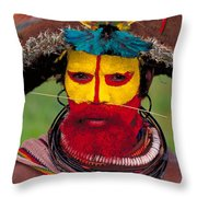 A Huli Man Throw Pillow