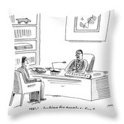 A Human Resources Office Worker Speaks To An Throw Pillow