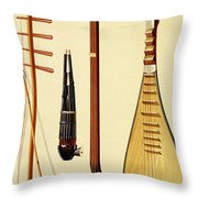 A Huqin And Bow, A Sheng, A Sanxian Throw Pillow by Alfred James Hipkins