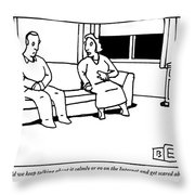 A Husband And Wife Sit On The Sofa Throw Pillow