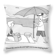 A Husband Returns To His Wife At The Beach Having Throw Pillow