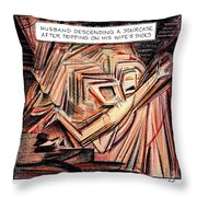 A Husband Trips Down Some Stairs In A Parody Throw Pillow