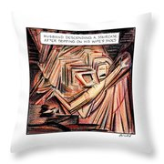 A Husband Trips Down Some Stairs In A Parody Throw Pillow by Harry Bliss