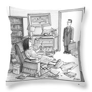A Husband Walks Into A Trashed Room Throw Pillow