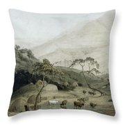 A Kaffir Village, C.1801 Wc & Graphite On Paper Throw Pillow