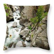 A Kayaker Descending Vallecito Creek Throw Pillow