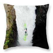 A Kayaker Takes The Plunge On Huge Throw Pillow