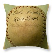 A Ken Boyer And Duke Snider Autograph Baseball Throw Pillow