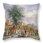A Kermesse On St. Georges Day Throw Pillow by Angel-Alexio Michaut