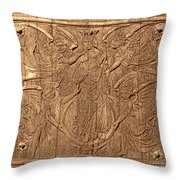A King Carved In Wood Throw Pillow