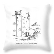 A King Looks Over The Parapet Of His Castle Throw Pillow