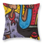 A King Messenger Blowing Flute Throw Pillow