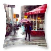 A La Turka In The Rain - Restaurants Of New York Throw Pillow