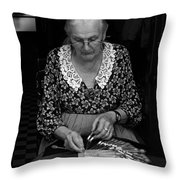 A Lacemaker In Bruges Throw Pillow