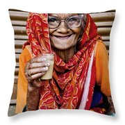 A Lady And Her Chai II Throw Pillow