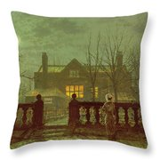 A Lady In A Garden By Moonlight Throw Pillow