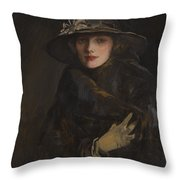 A Lady In Brown Throw Pillow