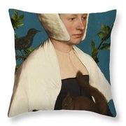 A Lady With A Squirrel And A Starling Throw Pillow