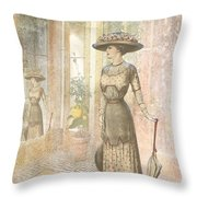 A Lady's Curious Reflection Throw Pillow