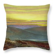 A Lake Landscape At Sunset Throw Pillow