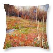 A Landscape In Spring With A Nun Throw Pillow