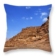 A Landscape Of Rocky Outcrops In The Desert Of Wadi Rum Jordan Throw Pillow