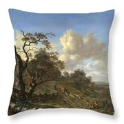 A Landscape With A Dead Tree Throw Pillow