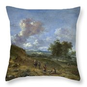 A Landscape With A High Dune And Peasants On A Road Throw Pillow