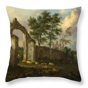 A Landscape With A Ruined Archway Throw Pillow