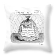 A Large Bag Is Centered In This Picture Throw Pillow by Roz Chast