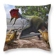 A Large Bakonydraco Pterosaur Attacking Throw Pillow by Sergey Krasovskiy