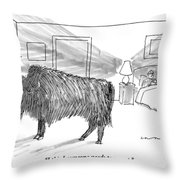 A Large Buffalo Stands Near The Door Throw Pillow