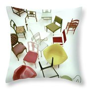 A Large Group Of Chairs Throw Pillow